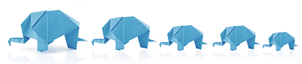 origami elephant family